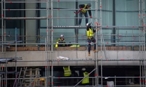 Construction workers on a building site