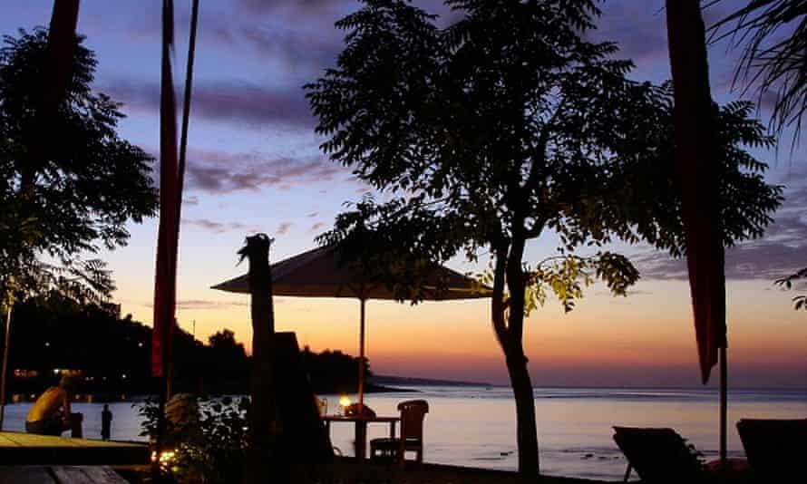 Villa Coral, at dusk, in Bali's Amed region