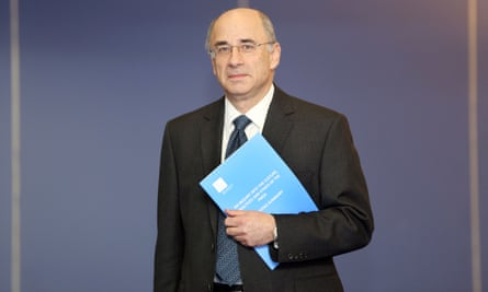 Sir Brian Leveson with the Leveson report