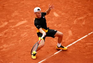 Diego Schwartzman fires a forehand from the baseline.