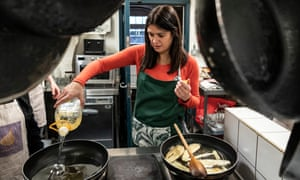 Lisa Nandy at a charity cooking event for refugees in Elephant and Castle, London.