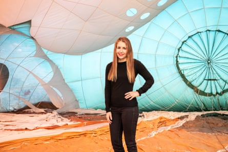 Patricia Piccinini inside the SkyWhale in 2013.