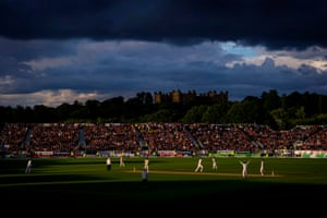 Australian batsman Peter Siddle hits a ball from bowler Stuart Broad to Jimmy Anderson at mid-off to give England the match and a 3-0 series victory during day four of the fourth Ashes Test match between England and Australia on August 2013 at Chester-le-Street, Durham.