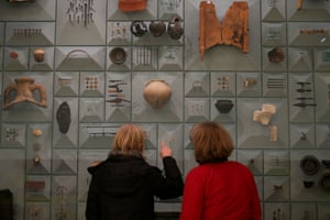Visitors stand in front of Roman-era items at the London Mithraeum, Bloomberg SPACE, in London.