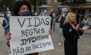 Black Lives Matter protesters at a demonstration in Coimbra, Portugal, in June.