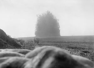 The mine under German front line positions at Hawthorn Redoubt is fired 10 minutes before the assault at Beaumont Hamel on the first day of the Battle of the Somme, 1 July 1916. 45,000 pounds of Ammonal exploded. The mine caused a crater 130 feet across by 58 feet deep, 1 July 1916. (Photo by Lt. E Brooks/ IWM via Getty Images)