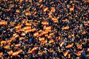 Rightwing protesters wave Spanish flags during a demonstration against Spanish Prime Minister Pedro Sanchez in Madrid