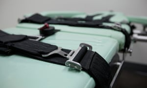 Restraints on a table inside a death chamber