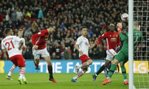 Zlatan Ibrahimovic scores his second and Manchester United's third goal.