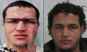 Two pictures of the Tunisian man identified as Anis Amri, suspected of being involved in the Berlin Christmas market attack.