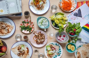 'Not elaborate, not expensive, just easy and delicious': Claire Thomson's yoghurt, lemon and cardamom chicken wraps.