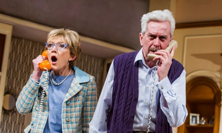 Gillian Wright as Mary Featherstone and Nicholas Le Prevost as Frank Foster in How the Other Half Loves by Alan Ayckbourn.