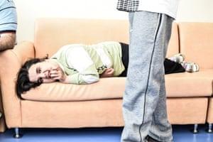 Sofia lying on a sofa