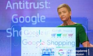 Margrethe Vestager during a Google Shopping antitrust case in 2017.