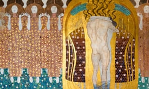 Klimt's 1902 frieze of an erotic embrace in the Secessionsgebäude.