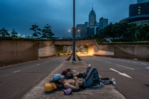 Protesters sleep on the road in Hong Kong
