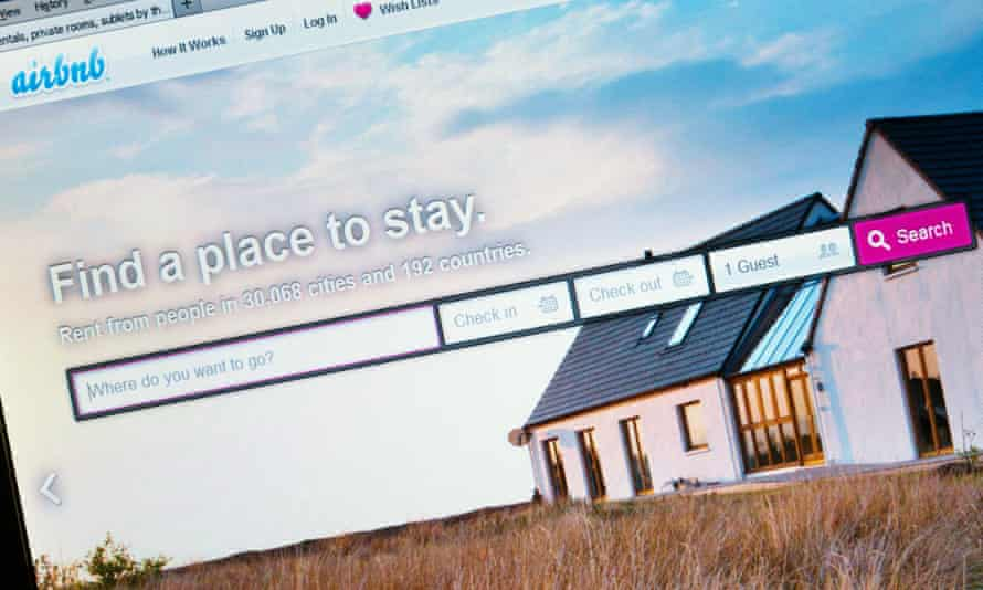 The home page of Airbnb whose share price doubled in the first day of trading last week.