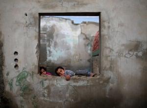 Gaza City, Gaza Strip Palestinian children play in their home in Al-Shati refugee camp