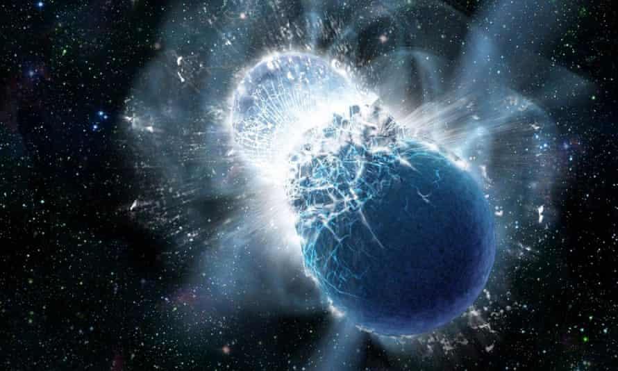 An artist's illustration of two colliding neutron stars.