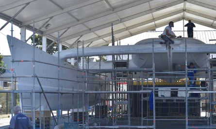 Work on the hull of the Energy Observer in Saint Malo, western France.