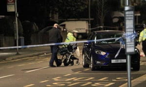 The scene of an incident involving a car in Penge, south-east London