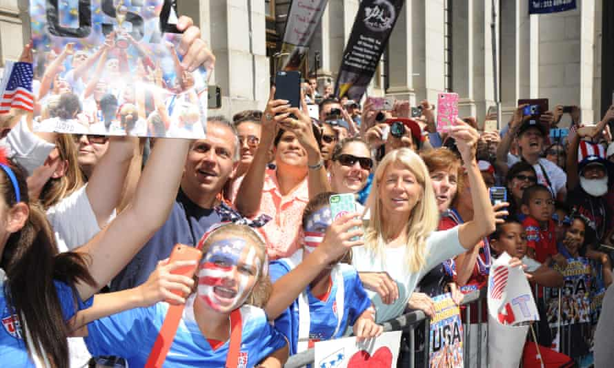 Fans lined Broadway in lower Manhattan to cheer on the US women's national team.