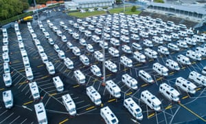 Campervans lined up in the parking area at the ASB Showgrounds in Greenlane on 27 March, 2020 in Auckland, New Zealand.