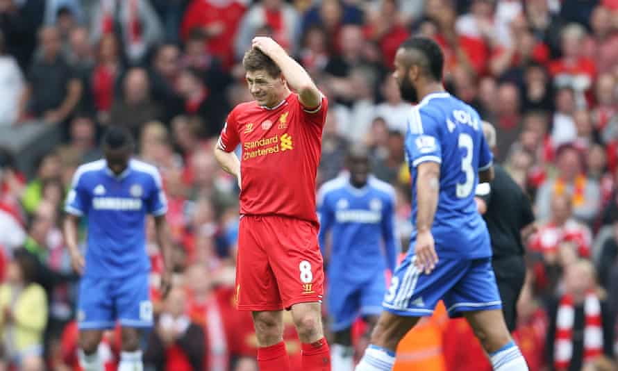 Liverpool's Steven Gerrard looks dejected after his slip allowed Chelsea's Demba Ba to run clear and score a crucial goal in the 2013-14 run-in..