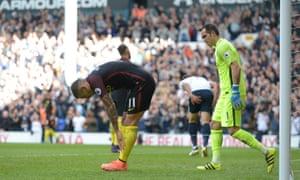 Aleksandar Kolarov reacts after his own goal gave Tottenham an early lead.