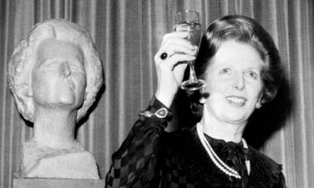 Margaret Thatcher visits Somerville College for the unveiling of a bust of herself in 1983.