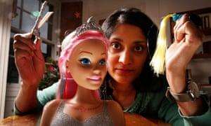 Chitra Ramaswamy with a Make Me Pretty Barbie Styling Head.