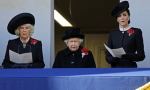 The Duchess of Cornwall, the Queen, and the Duchess of Cambridge at the Remembrance Sunday ceremony at the Cenotaph in London.