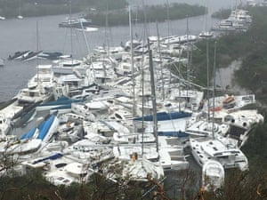 Next in its path was the British Virgin Islands. Here, boats lie crammed together against the shore in Paraquita Bay.