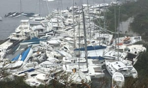 Yachts piled up in the British Virgin Islands