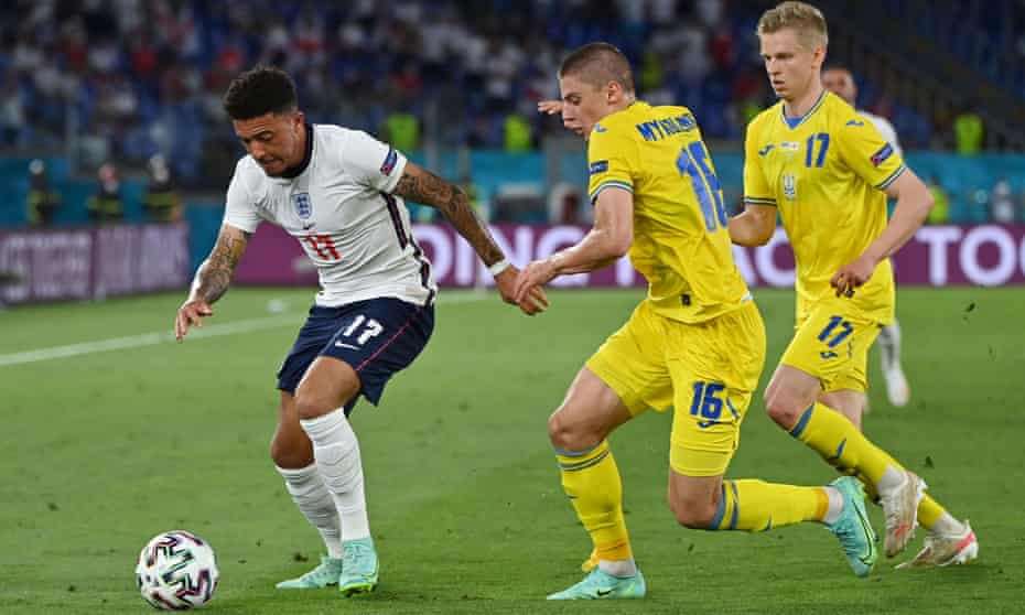 Jadon Sancho takes on the Ukraine defence in the Euro 2020 quarter final in Rome on Saturday.
