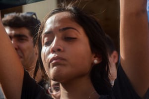 A student cries during a gathering in Havana
