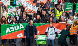 Asda employees protest in October against the new contracts being enforced by the company.