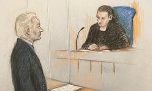 Court artist's sketch of Julian Assange