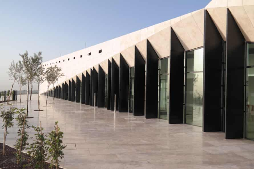 Casts ripples into the surrounding landscape … the museum's exterior.
