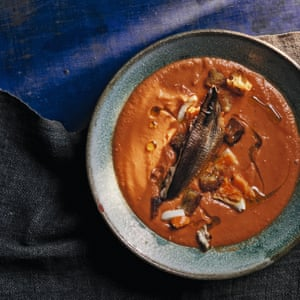 Smoked sardines with salmorejo. From 'Andalusia, by Jose Pizarro. 20 best tomato recipes.