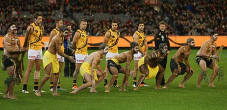 An Indigenous war-cry ceremony takes place before an Australian rules football match in Melbourne on 28 May.