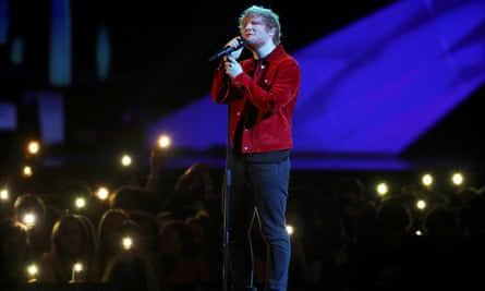 Ed Sheeran performs at the Brit awards.