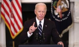 Joe Biden speaks about combatting the coronavirus pandemic at the White House on Thursday.
