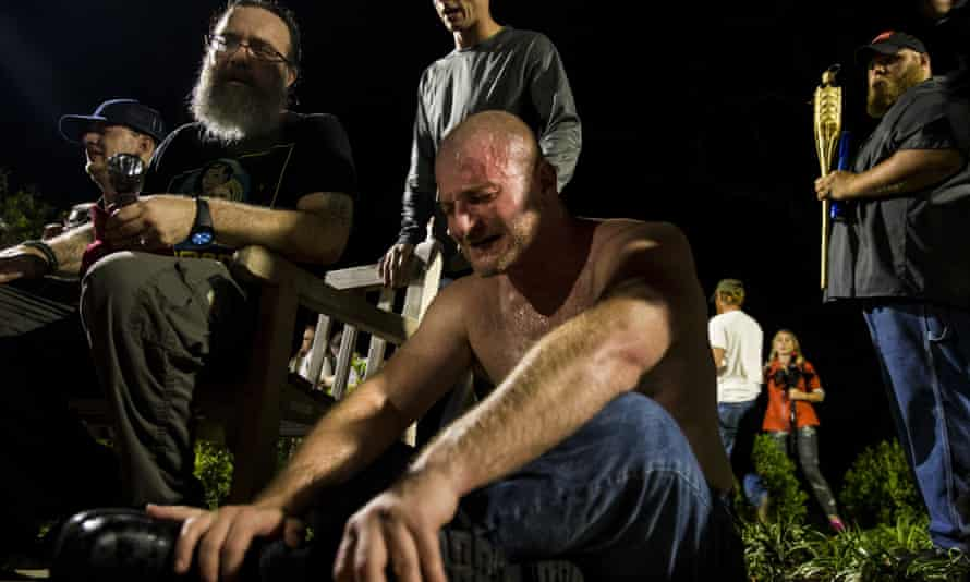 A man after being hit with pepper spray at the University of Virginia campus in Charlottesville.