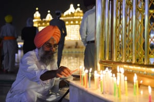 Indian Sikhs gather at the Golden Temple in Amritsar