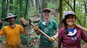 Workers with the Carolina Climbing Conservation Corps, including the board president, Tom Caldwell, left, and Danielle Johnson, right.