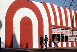 Red and white striped building