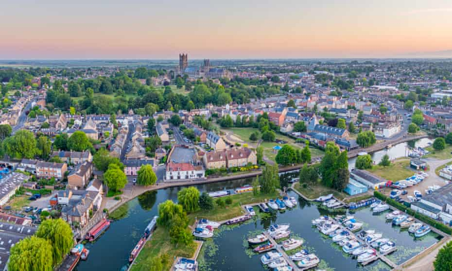 Ely Cathedral. Ely Marina and the Great Ouse River.