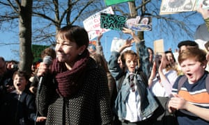 Caroline Lucas, co-leader of the Green Party speaks to school pupil climate strike protestors, 15 February.