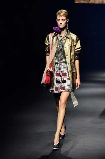 A model walks the runway during the Lanvin show during Paris fashion week on October 1, 2015.